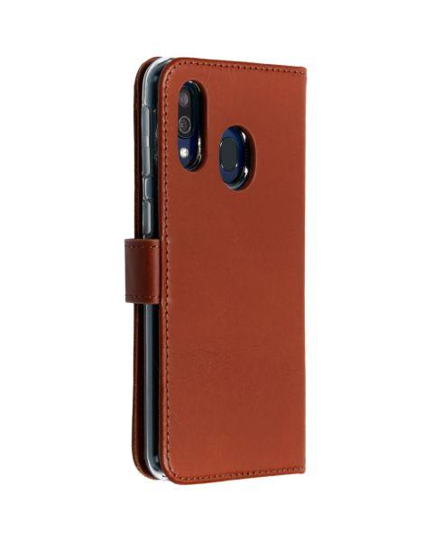 Echt Lederen Booktype Samsung Galaxy A40 - Lichtbruin - Lichtbruin / Light Brown