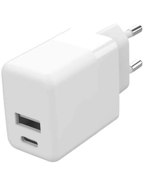 Wall Charger USB-C & USB-A 20W + Power Delivery - Wit - Wit / White