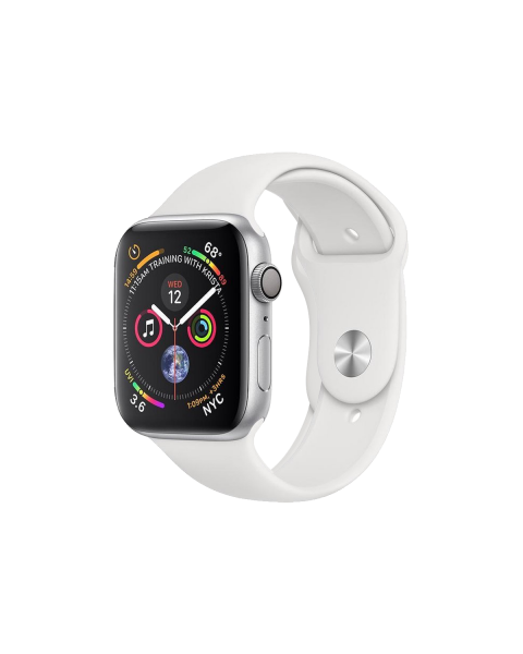 Refurbished Apple Watch Series 4 44mm GPS Aluminum Case Zilver met wit sportbandje