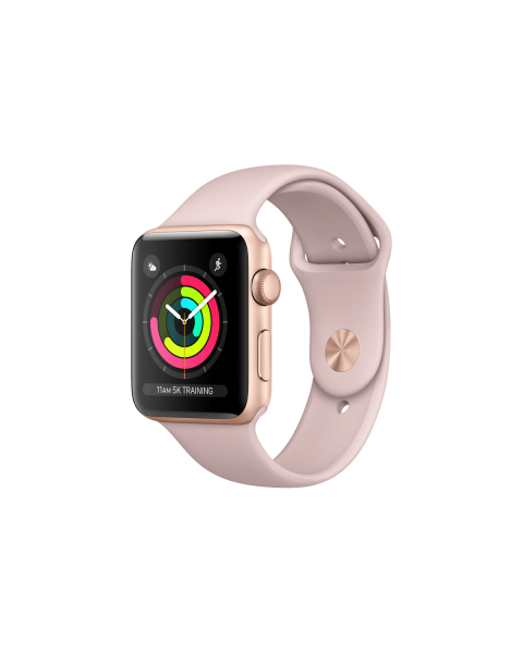 Refurbished Apple Watch Series 3 42mm GPS Aluminum Case Gold with Pink sportband