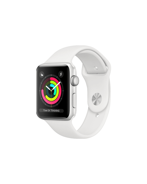 Refurbished Apple Watch Series 3 42mm GPS Aluminum Case Zilver met wit sportbandje